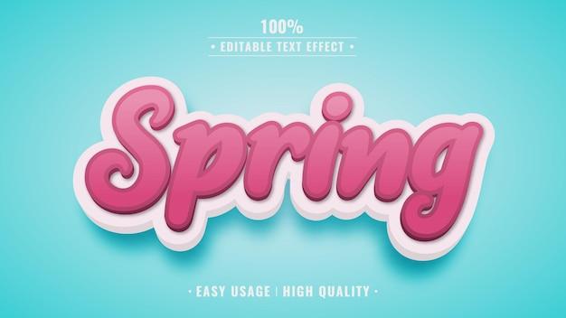 Весенний редактируемый стиль текстового эффекта 3d
