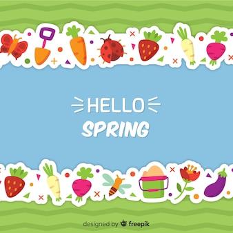 Spring elements line background