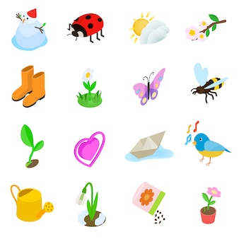 Spring elemets icons set