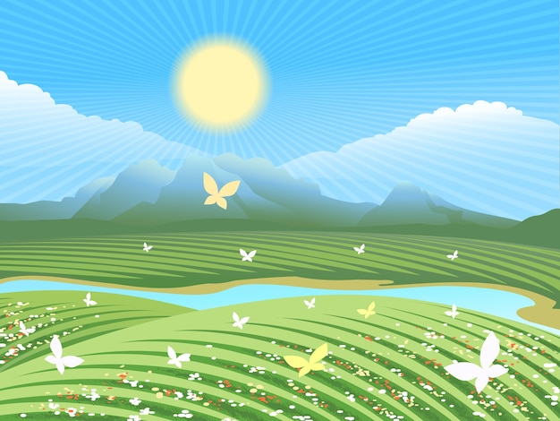 春の農場の風景。川の近くに花や蝶が咲く丘の上の緑の野原。