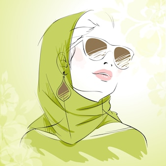 Spring fashion girl portrait in green colors