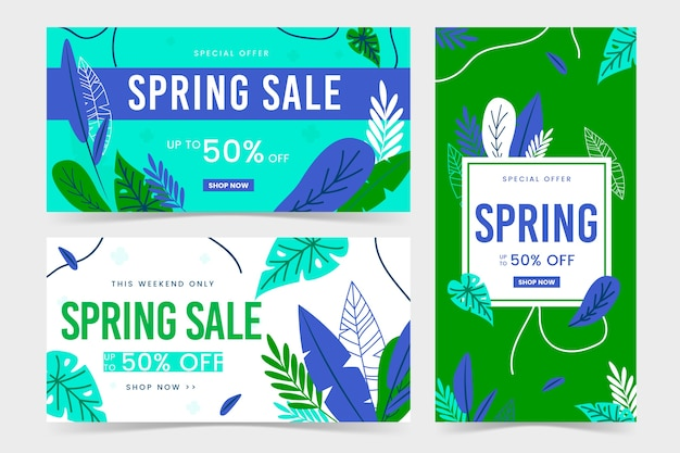 Spring flat design banners green and blue leaves