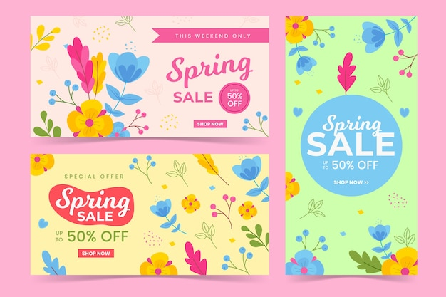 Spring flat design banners leaves and flowers