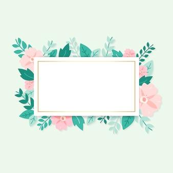 Spring flora mockupl frame illustration