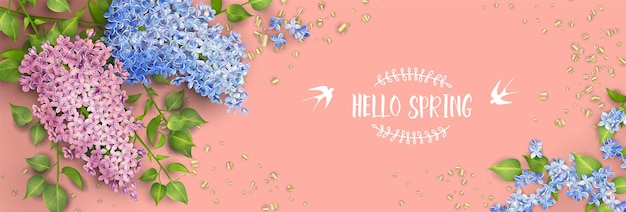 Spring floral background. branch of a blossoming lilac