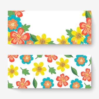 カラフルな花と春の花のバナーテンプレート。