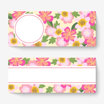 Spring floral banner template with colorful flowers.