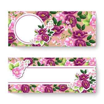 Modello di banner floreale di primavera con fiori colorati.
