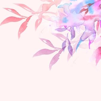 葉の水彩イラストとピンクの春の花のボーダー背景ベクトル