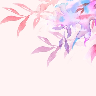 Spring floral border background vector in pink with leaf watercolor illustration