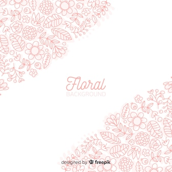 Spring floral doodles background
