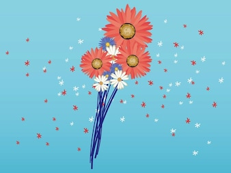 Spring floral flowers decorations vector