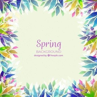 Spring floral frame background in watercolor style
