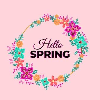 Spring floral frame in flat design