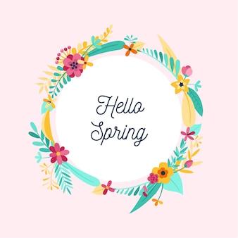フラットなデザインをテーマにした春の花のフレーム