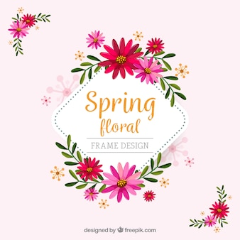 Spring floral frame in flat style