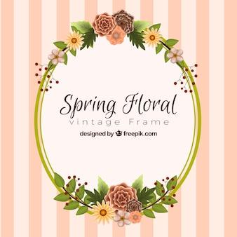 Spring floral frame in vintage style