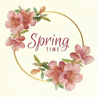 봄 꽃 프레임 프리미엄 벡터