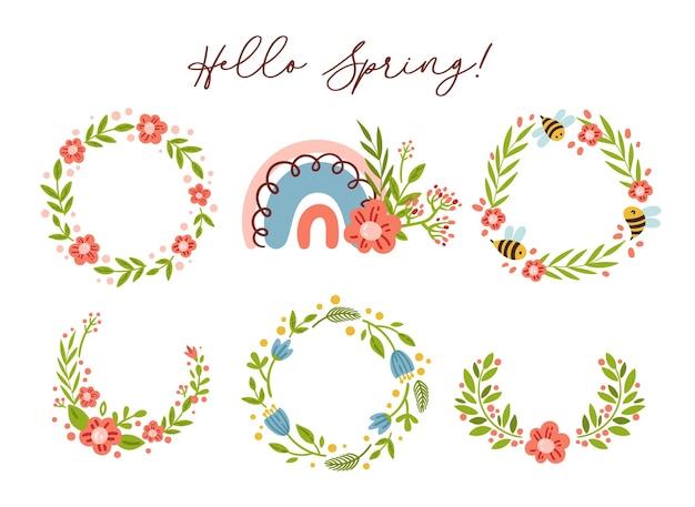 봄 꽃 프레임 또는 wreathes 및 무지개 클립 아트 세트