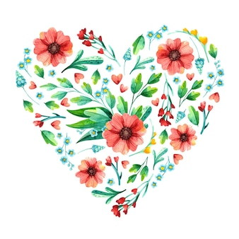 Весенняя цветочная рамка в форме сердца, ботаническая акварель.