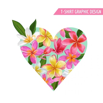 Spring floral heart tropical flowers design