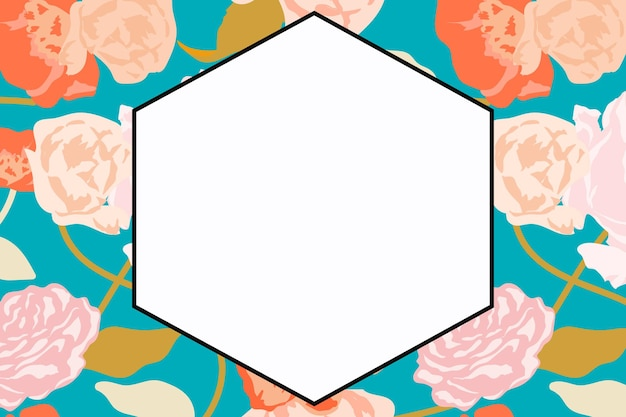 Spring floral hexagon frame vector with pastel roses on white background