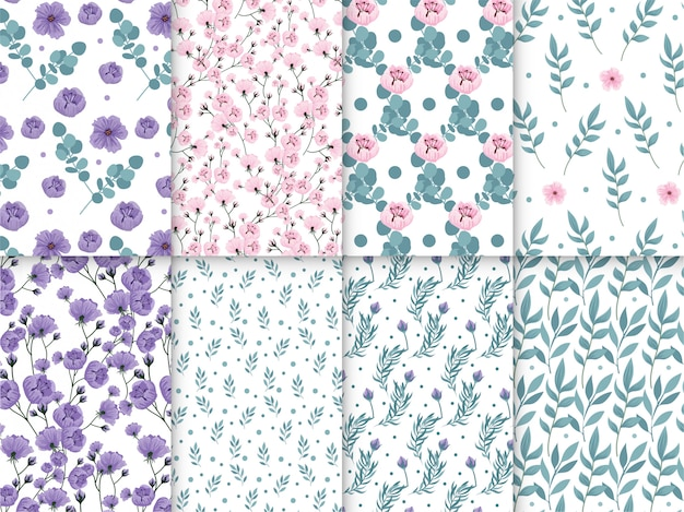Spring floral pattern collection with flowers