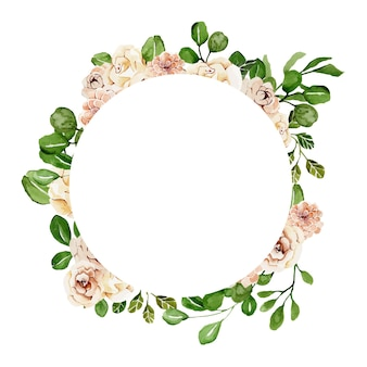 Spring floral round frame with delicate watercolor flowers