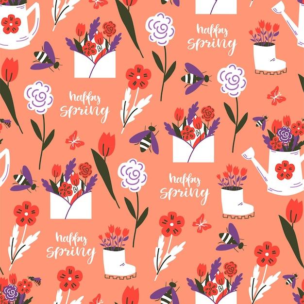 봄 꽃 완벽 한 패턴입니다. 화려한 배경입니다. 벡터 일러스트 레이 션.