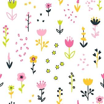花と春の花のシームレスなパターン。