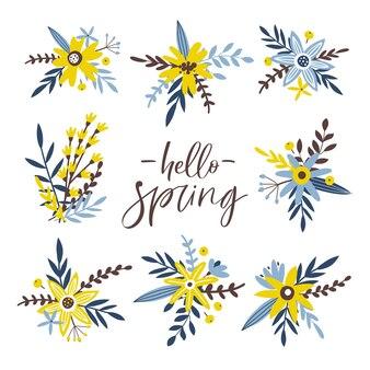 봄 꽃 세트. 잎과 꽃으로 손으로 그린 컬렉션입니다.