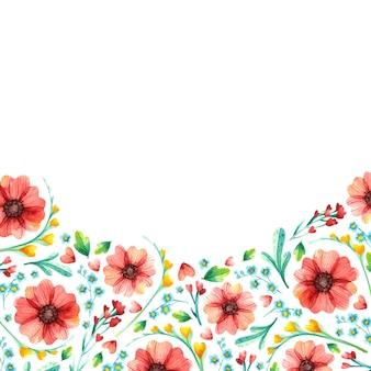 봄 꽃 사각 프레임, 식물 수채화.