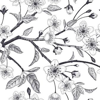 일본 체리 벡터 일러스트와 함께 봄 꽃 빈티지 원활한 패턴
