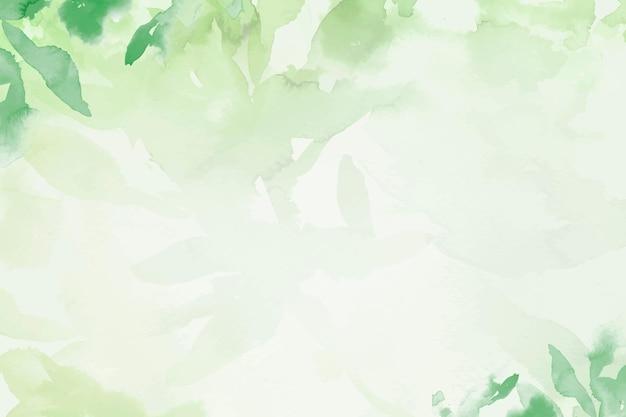 Весенний цветочный акварельный фон вектор в зеленом цвете с иллюстрацией листьев
