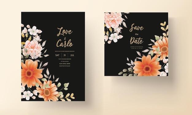Шаблон оформления весенних цветочных свадебных приглашений