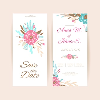 Spring floral wedding invitation template collection