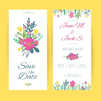Spring floral wedding invitation template