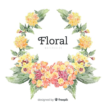 Spring floral wreath background