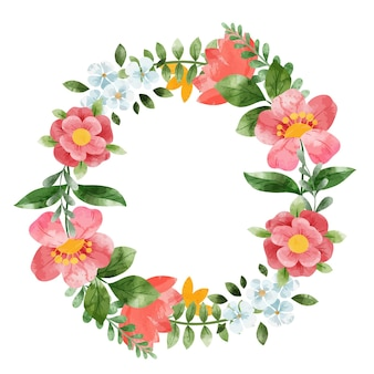 春の花の花輪。手描きの水彩イラスト。