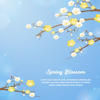 Spring flower blossom background design in blue