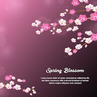 Spring flower blossom background design in purple