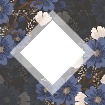 春の花ボーダー-青い花