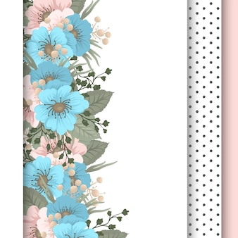 Spring flower boarder - light blue flower