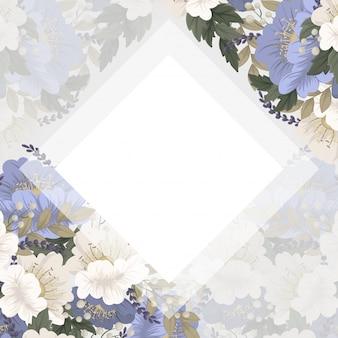 春の花ボーダー-水色の花