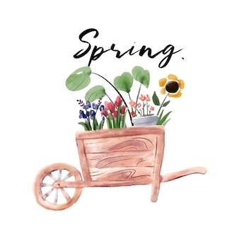 Весенняя цветочная тележка акварельная живопись