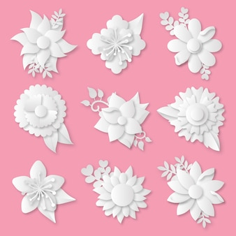 Spring flower collection in paper style