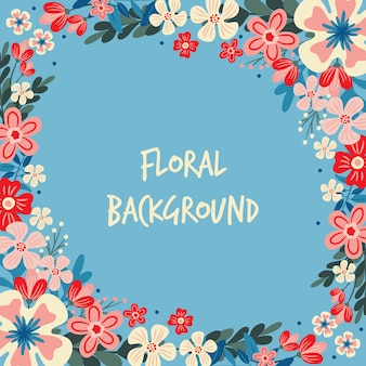 Spring flower / floral border / wreath background printed template
