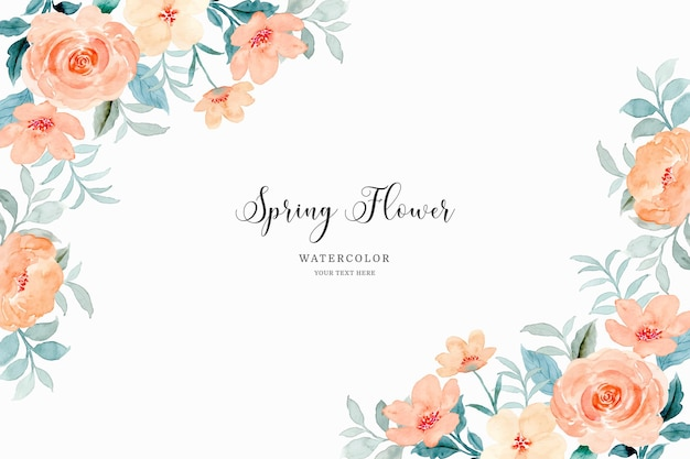 Spring flower frame background with watercolor