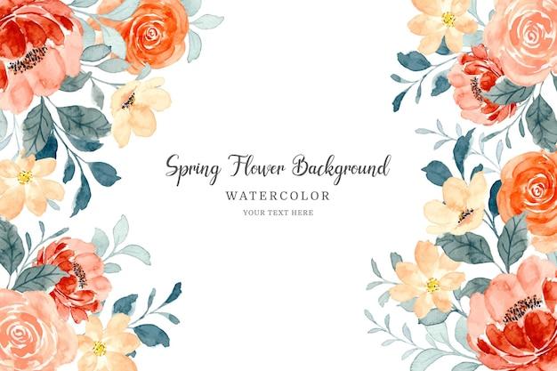 봄 꽃 프레임 수채화와 장미 꽃 배경