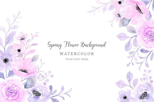 봄 꽃 프레임 부드러운 분홍색 보라색 꽃 수채화 배경